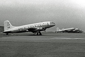 RAF Colerne - Handley Page Hastings of No. 24 Squadron Transport Command at RAF Colerne in 1967.