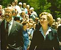 Hall of Fame President,CEO Will Lunn with Hillary Clinton at 1999 unveiling.jpg