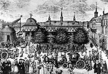 City center of Hamburg around 1735 (copper engraving by Christian Fritzsch)