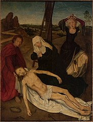 Triptych center panel:Lamentation