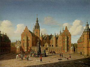 Heinrich Hansen (painter) - Image: Hansen Fredriksborg Slott Den kongelige falke jagt 1861