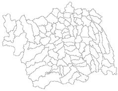 """Mapa konturowa okręgu Bacău, u góry znajduje się punkt z opisem """"Buhuși"""""""