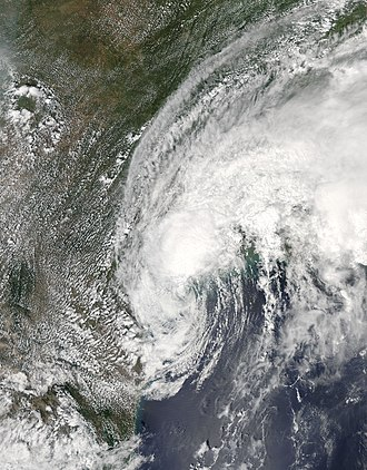 Meteorological history of Hurricane Harvey - Harvey shortly after emerging into the Gulf of Mexico on August 28