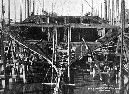 Hatsuse's hull under construction three months after her keel was laid Hatsuse hull under construction 1901.JPG
