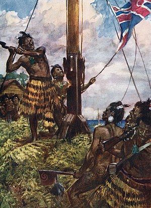 New Zealand Wars - Hone Heke cuts down the flagstaff on Flagstaff Hill at Kororāreka.
