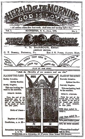 Eschatology of Jehovah's Witnesses - Herald of the Morning published by Nelson H. Barbour and Charles Taze Russell in 1878
