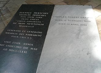 Tombs of John Herschel and Charles Darwin. Westminster Abbey Herschel&darwin.jpg