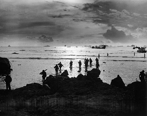 Hitting the beach of Tinian Island - 1944