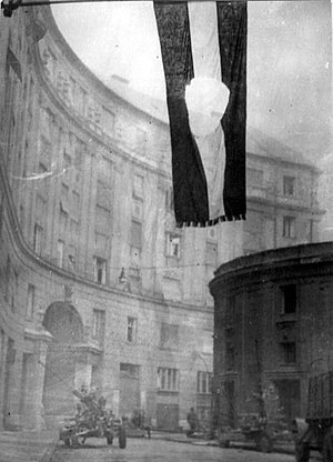 Hungarian Revolution of 1956 - Image: Hole in flag Budapest 1956