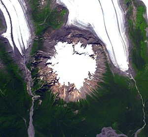 Hoodoo Mountain - Satellite image of Hoodoo Mountain. Glaciers are the Hoodoo and Twin glaciers, respectively.