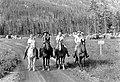 Horseback party of four at Many Glacier Campground, Glacier National Park. (95493f996bd04c72939cdcbb365d5ba1).jpg