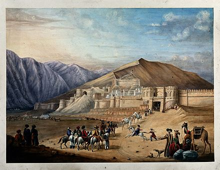 Old painting showing the Great Wall of Kabul Horsemen assembled outside the city walls at Kabul, Afghanis Wellcome V0050453.jpg