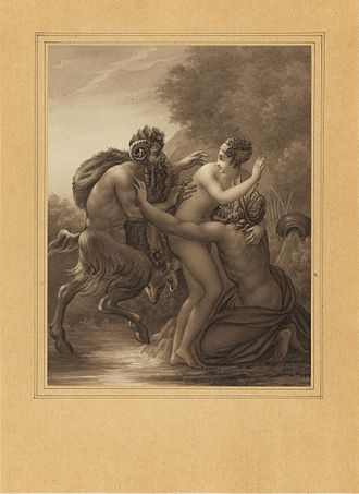 Syrinx - Pan poursuivant Syrinx drawing by Anne-Louis Girodet de Roussy-Trioson, 1826