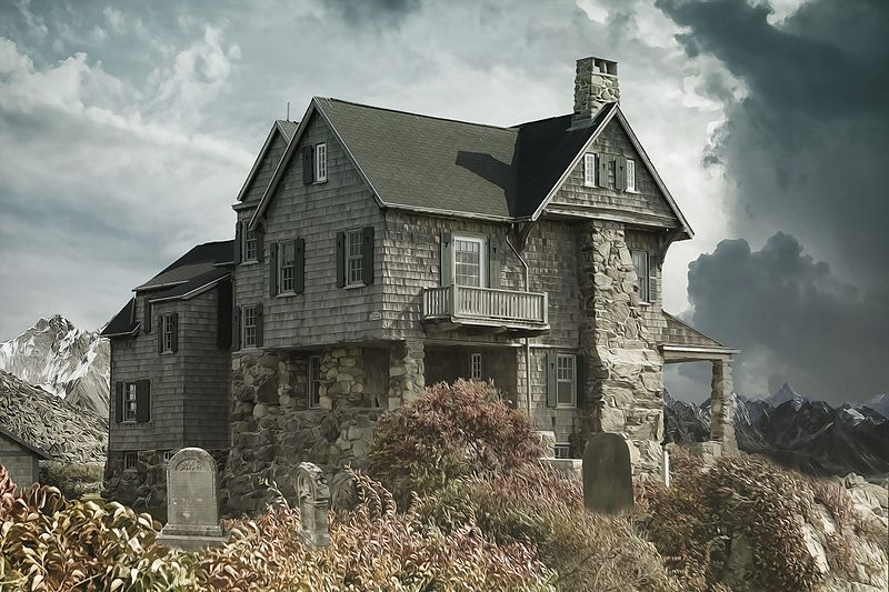 File:House Cemetery Haunted House-2187170.jpg