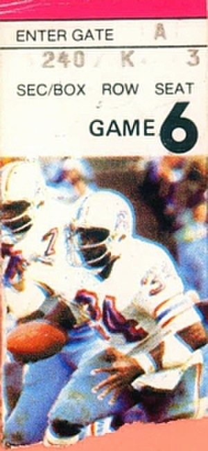 1981 Houston Oilers season - A ticket for an October 1981 game between the Oilers and the Pittsburgh Steelers.