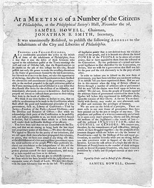 Samuel Howell - Broadside announcing meeting held November 2, 1775 in Philadelphia