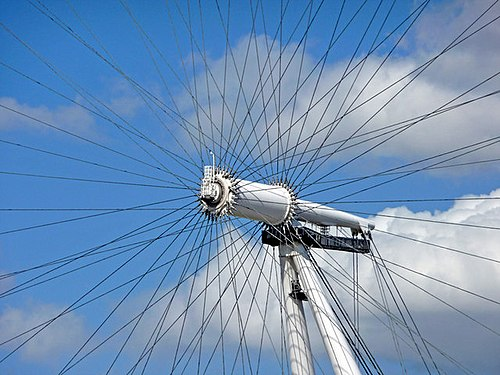 The spindle, hub, and tensioned cables that support the rim Hub of the Eye - geograph.org.uk - 1409599.jpg