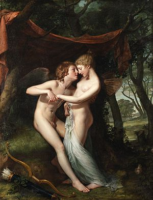 Hugh Douglas Hamilton - Cupid and Psyche in the nuptial bower by Hugh Douglas Hamilton. Oil, 1792-93.