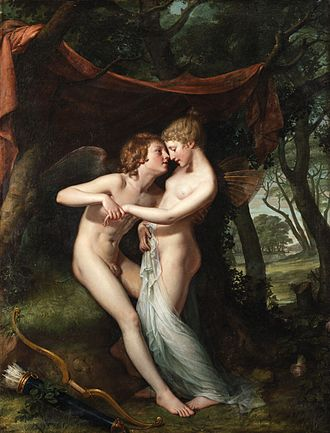 Irish art - Cupid and Psyche in the nuptial bower by Hugh Douglas Hamilton, who trained in Dublin under Robert West. Oil, 1792-93.