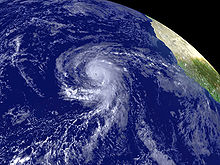 Oblique view of a hurricane in the eastern Atlantic Ocean