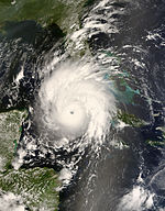 Hurricane Gustav at landfall in western Cuba at peak strength