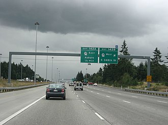 Washington State Route 18 - I-5 southbound in Federal Way, approaching its interchange with SR 18