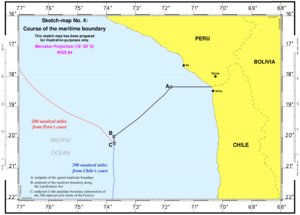 Chilean–Peruvian maritime dispute - The maritime boundary between Chile and Peru as defined by the International Court of Justice on 27 January 2014.