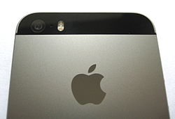 The back of an iPhone 5S, displaying the camera and Apple logo.