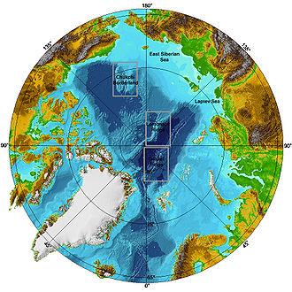 Bathymetrische Karte des Nordpolarmeeres