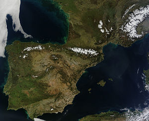 Iberian Peninsula - Iberian Peninsula and southern France, satellite photo on a cloudless day in March 2014