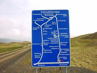 Transport in Iceland - An example of an Icelandic Road sign, showing the way to many farms and villages