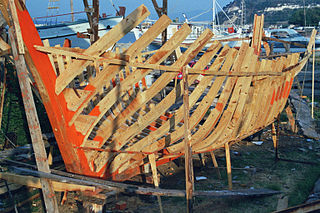 Caïque traditional fishing boat usually found in the Ionian or Aegean Sea