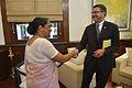 Indian Foreign Secretary Sujatha Singh and U.S. Deputy Defense Secretary Ash Carter shake hands after their meeting at South Block, New Delhi.jpg