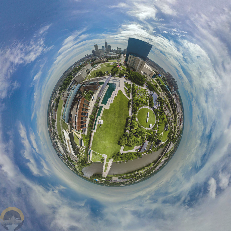 The same image of Indianapolis distorted into a circle