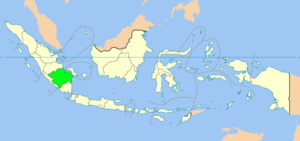 Map of South Sumatra province in Indonesia