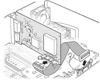 Technical illustration - 3D Technical Illustration of an interface card conveying placement of the interface cable.
