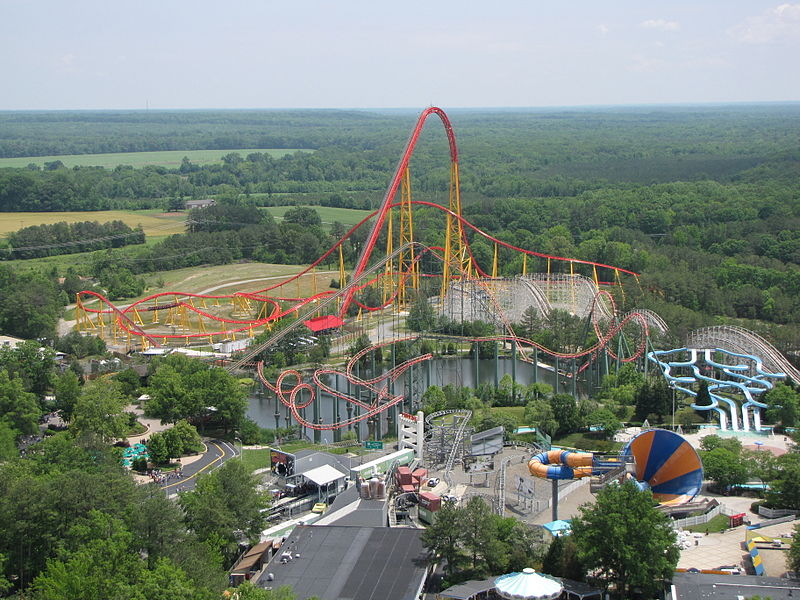 Intimidator 305 ride at Kings Dominion, as seen from Eiffel Tower replica.