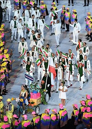 2016 Summer Olympics Parade of Nations - Iran entering the stadium with paralyzed Zahra Nemati carrying the flag