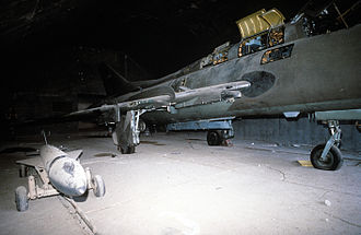 Sukhoi Su-17 - Iraqi Su-22M aircraft in a hangar damaged by Coalition air strikes during Operation Desert Storm.