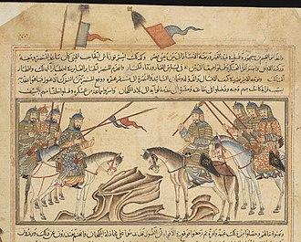 Samanid Empire - Artwork of Isma'il Muntasir in a battle.