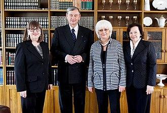 Jóhanna Sigurðardóttir - Jóhanna Sigurðardóttir (second from right) and Jónína Leósdóttir (left), on an official visit to Slovenia