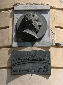 Gedenkplatte am Geburtshaus in Bratislava; Lage: 48°8′38,72″N, 17°6′37,12″O48.1440888917.1103111 (Quelle: Wikimedia)