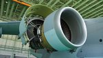 JASDF C-2(68-1203) CF6-80C2K1F turbofan engine(right wing, cowl open) right front low-angle view at Miho Air Base May 28, 2017.jpg