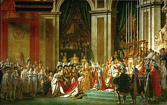 Coronation of Napoleon I - Consecration of the Emperor Napoleon I and Coronation of the Empress Josephine in the Cathedral of Notre-Dame de Paris on 2 December 1804 by Jacques-Louis David (completed 1808)