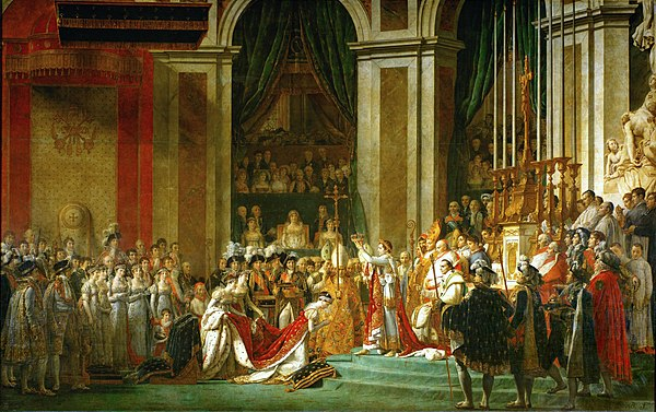 One of the most famous Imperial coronation ceremonies was that of Napoleon, crowning himself Emperor in the presence of Pope Pius VII (who had blessed the regalia), at the Notre Dame Cathedral in Paris. The painting by David commemorating the event is equally famous: the gothic cathedral restyled style Empire, supervised by the mother of the Emperor on the balcony (a fictional addition, while she had not been present at the ceremony), the pope positioned near the altar, Napoleon proceeds to crown his then wife, Josephine de Beauharnais as Empress. Jacques-Louis David - The Coronation of Napoleon (1805-1807).jpg