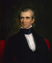 A half-length painting of Polk, looking to one side