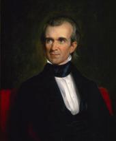 Un dipinto a mezzo busto di Polk, alla ricerca di un lato