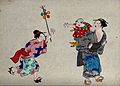 Japanese woman gives a toy to a child on another lady's back Wellcome V0046783.jpg