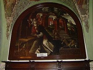 Obraz z jednej z południowych lunet zakrystii przedstawiający kuszenie św. Antoniego Opata