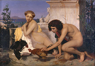 Young Greeks Attending a Cock Fight